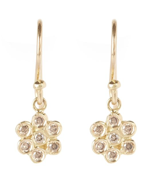 Satomi Kawakita - Metallic Gold And Brown Diamond Floral Drop Earrings - Lyst
