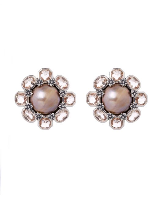 Stephen Dweck | Metallic Sterling Silver Pink Mabe Pearl And Peach Quartz Flower Clip-on Earrings | Lyst