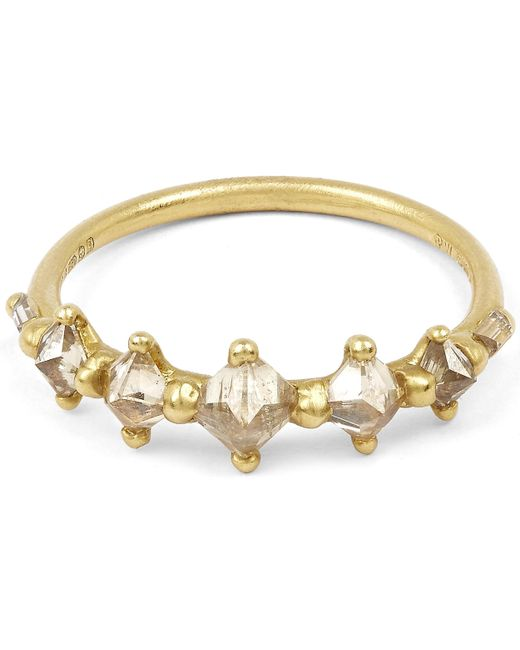 Polly Wales - Metallic Gold Five Princess Cut Diamond Halo Ring - Lyst