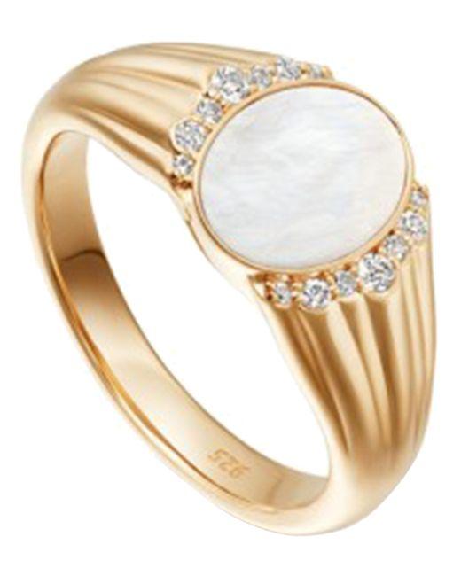 Astley Clarke - Metallic Gold Luna Mother Of Pearl Sapphire Signet Ring - Lyst