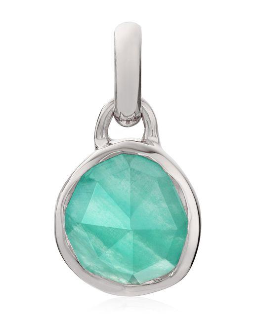 Monica Vinader - Metallic Silver Siren Mini Amazonite Bezel Pendant - Lyst