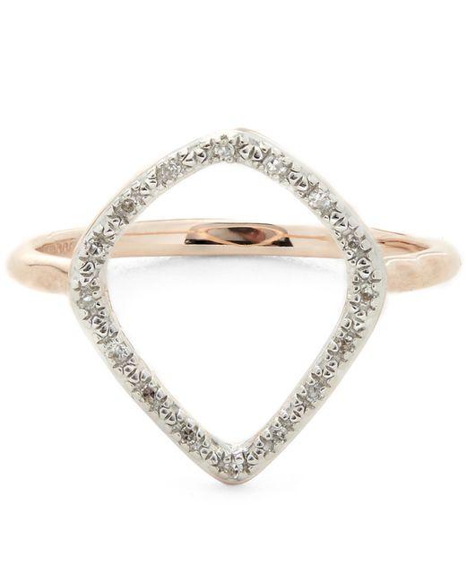 Monica Vinader - Metallic Rose Gold Vermeil Riva Diamond Hoop Ring - Lyst