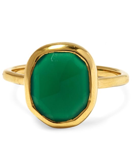 Monica Vinader | Metallic Gold-plated Green Onyx Medium Siren Stacking Ring | Lyst