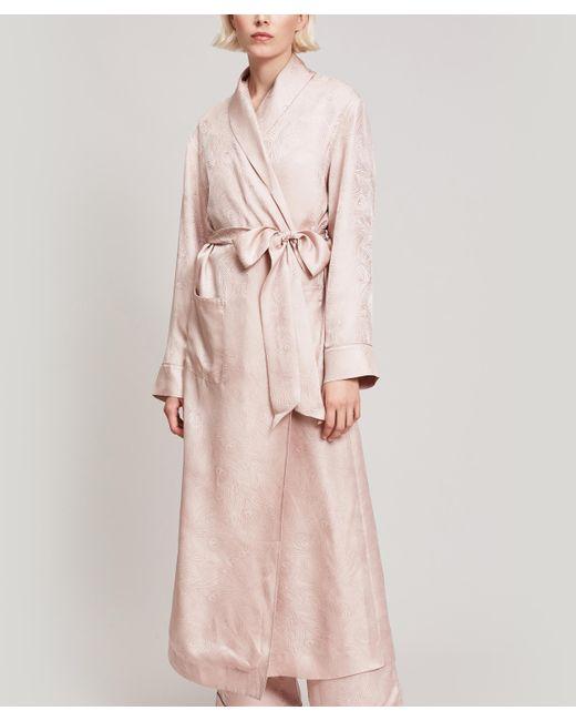Liberty - Pink Hera Silk Jacquard Long Robe - Lyst