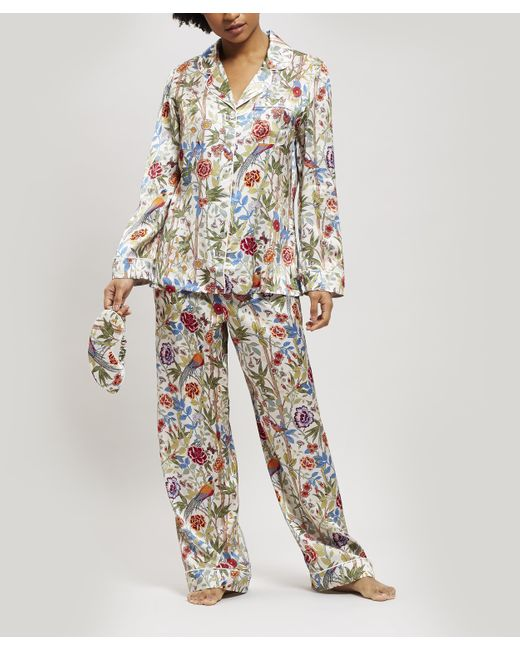 Liberty Multicolor Bamboo Garden Silk Charmeuse Pyjama Set