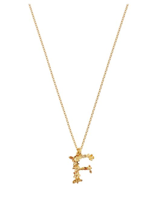Alex Monroe - Metallic Gold-plated Floral Letter F Alphabet Necklace - Lyst