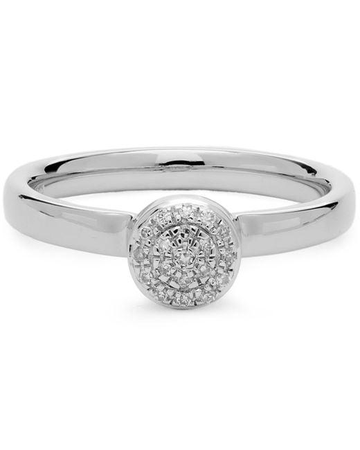 Monica Vinader - Metallic Silver Mini Fiji Diamond Button Ring - Lyst