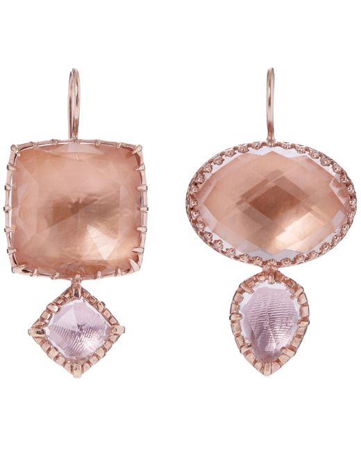 Larkspur & Hawk | Multicolor Rose Gold-washed White Quartz Double Drop Earrings | Lyst