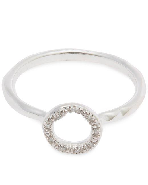 Monica Vinader - Metallic Sterling Silver Riva Mini Diamond Circle Stacking Ring - Lyst