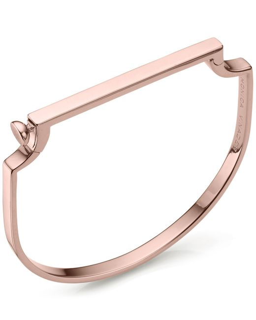 Monica Vinader - Pink Rose Gold Vermeil Signature Petite Thin Bangle - Lyst