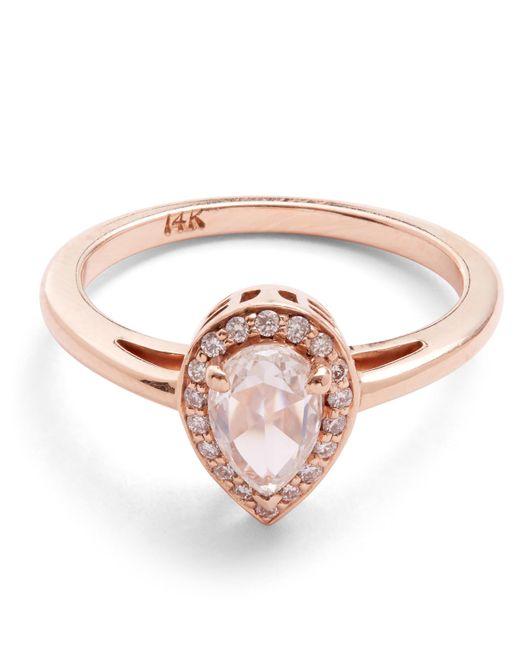 Anna Sheffield - Multicolor Rose Gold Pear White Diamond Rosette Ring - Lyst