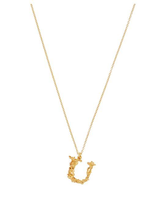 Alex Monroe - Metallic Gold-plated Floral Letter U Alphabet Necklace - Lyst