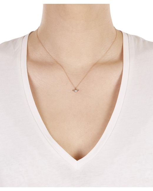 Kismet by Milka - Metallic Rose Gold Horoscope Aries White Diamond Pendant Necklace - Lyst