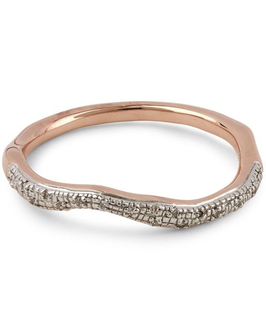 Monica Vinader - Metallic Rose Gold Vermeil Riva Diamond Wave Stacking Ring - Lyst