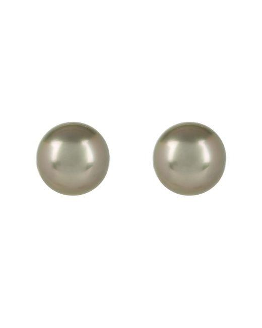 Kojis - Metallic White Gold And Tahitian Pearl Stud Earrings - Lyst