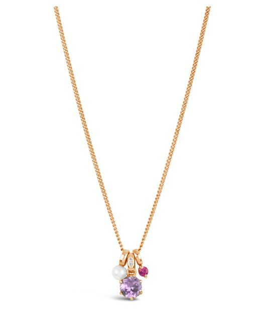 Dinny Hall - Multicolor Rose Gold Gem Drop Freshwater Pearl Pink Sapphire Pendant Necklace - Lyst