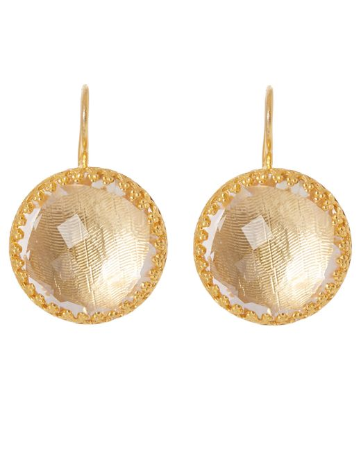 Larkspur & Hawk - Metallic Gold-washed White Quartz Olivia Button Earrings - Lyst