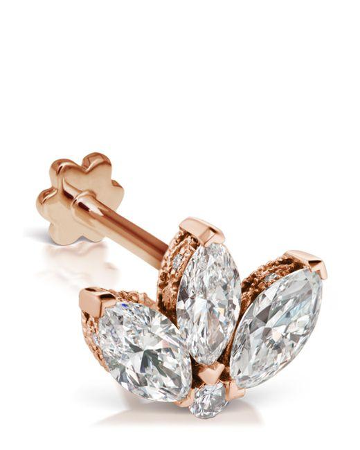 Maria Tash Metallic 3mm Mini Diamond Engraved Lotus Threaded Stud Earring