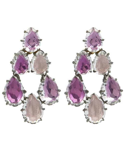 Larkspur & Hawk | Pink Silver Caterina White Quartz Swag Earrings | Lyst
