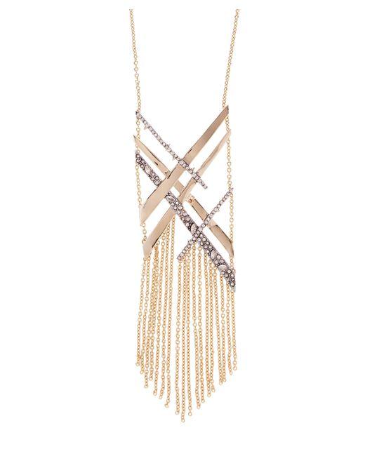 Alexis Bittar - Metallic Crosshatch Crystal Tassel Necklace - Lyst