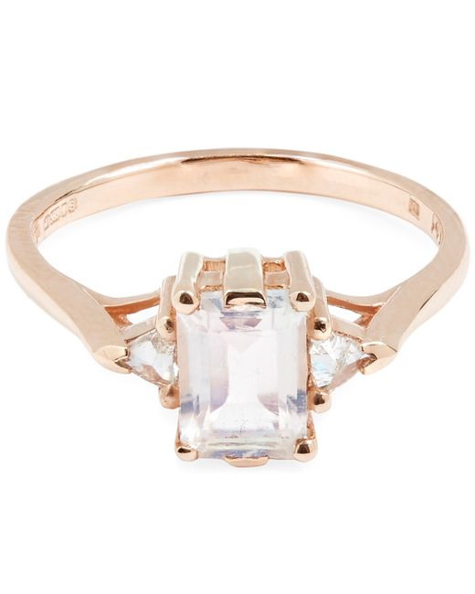 Anna Sheffield | Metallic Rose Gold Bea Rainbow Moonstone Three Stone Ring | Lyst