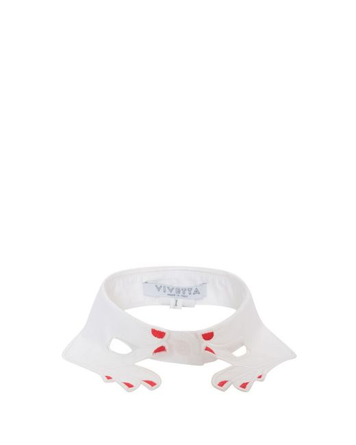 Vivetta - White Embroidered Cotton Collar - Lyst