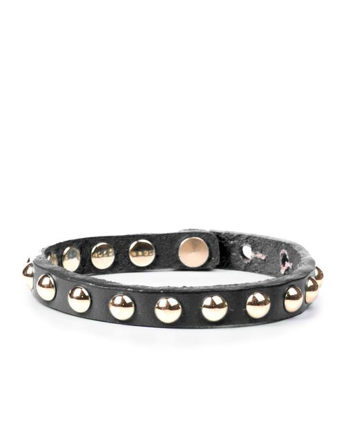 Linea Pelle | Black Skinny Dome Stud Bracelet | Lyst