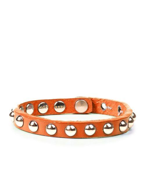 Linea Pelle | Orange Skinny Dome Stud Bracelet | Lyst