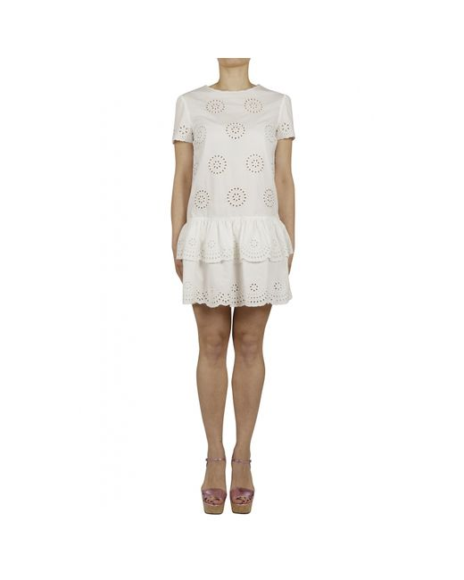 Red Valentino White Embroidery Broderie Anglaise Dress In
