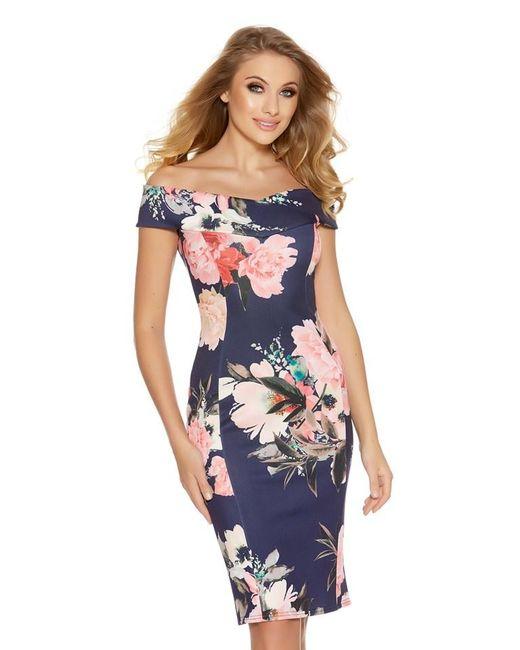 Quiz Navy And Pink Bardot Dip Hem Dress In Blue