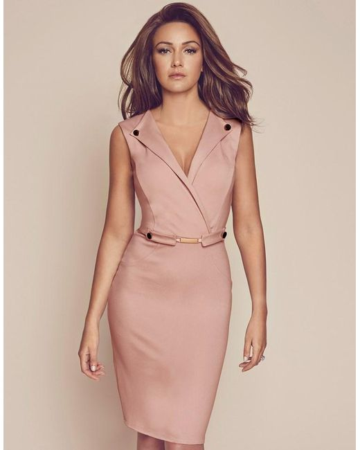 Lipsy Love Michelle Keegan V Neck Button Detail Bodycon Dress in Pink | Lyst