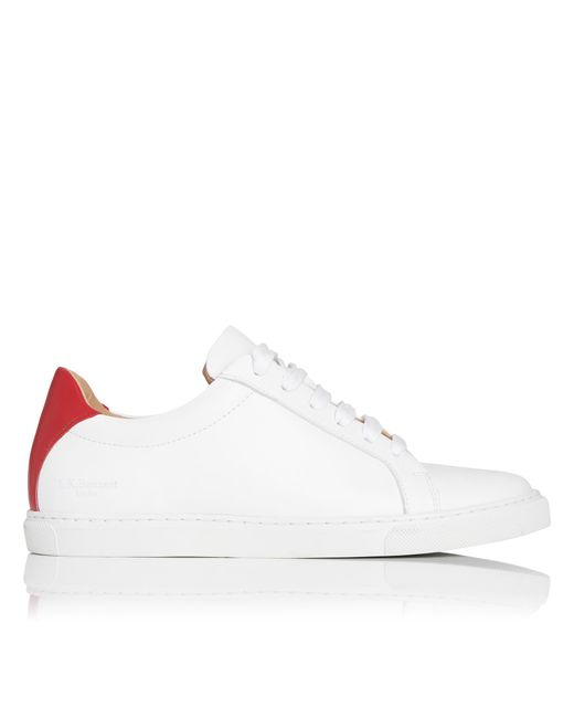 L.K.Bennett - Jack Red White Leather Lace Up Trainers - Lyst