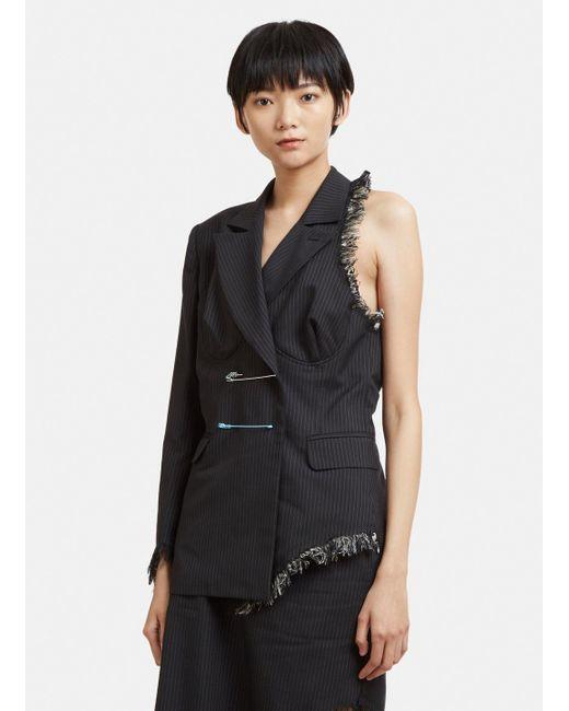 Facetasm - Cut-out Pinstripe Blazer In Black - Lyst