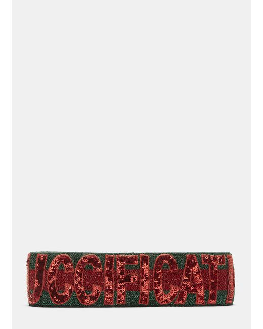 Gucci | Fication Sequinned Headband In Red And Green | Lyst