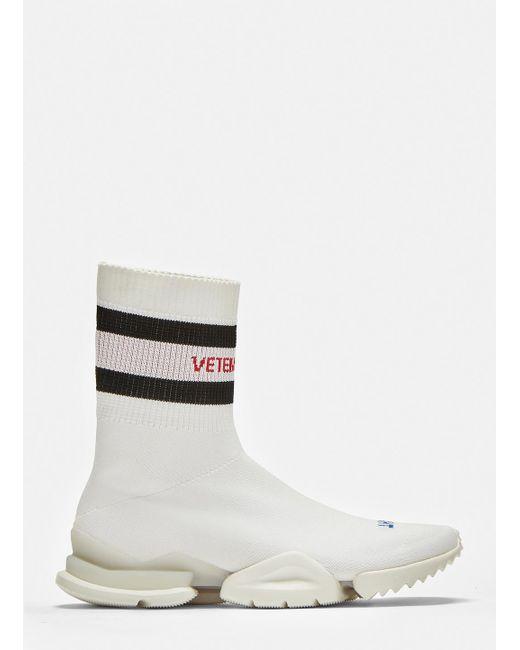 Vetements - X Reebok Logo-jacquard Stretch-knit Sock Sneakers In White - Lyst