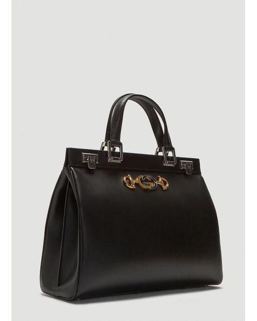 a6ca6474b6d ... Gucci - Zumi Top Handle Leather Bag In Black - Lyst ...