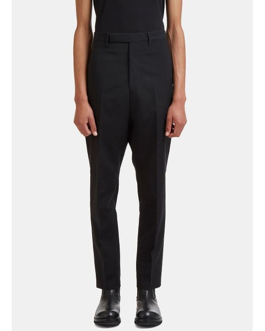 Rick Owens | Astaires Straight Leg Rear Strap Pants In Black for Men | Lyst