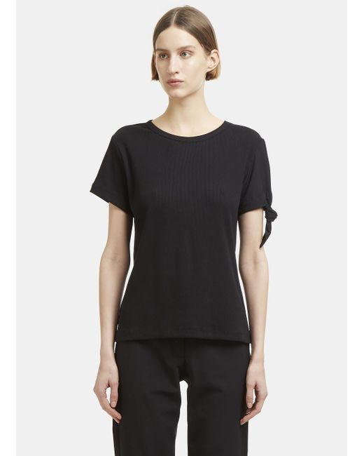 J.W. Anderson - Single Silk Knot Ribbed T-shirt In Black - Lyst