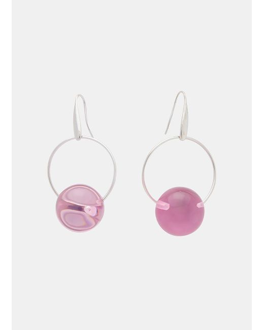Marni | Metallic Sphere Drop Earrings In Silver And Lilac | Lyst