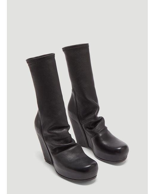 1af1ca0ae35c ... Rick Owens - Sock Wedge Boots In Black - Lyst ...