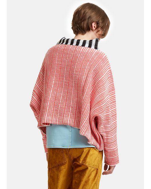 Eckhaus latta Oversized Woven Knit Dolman Sweater In Red And White ...