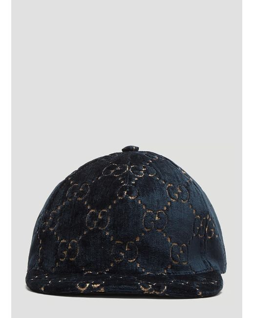 Lyst - Gucci GG Velvet Baseball Cap In Blue in Blue - Save 36% 25bfdd4be7f9