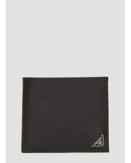 2785e7a48fa6 Lyst - Prada Saffiano Leather Bi-fold Wallet In Black in Black for Men