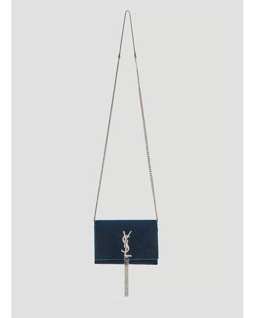 Lyst - Saint Laurent Kate Chain Wallet Shoulder Bag In Blue in Blue c0720cfaab235