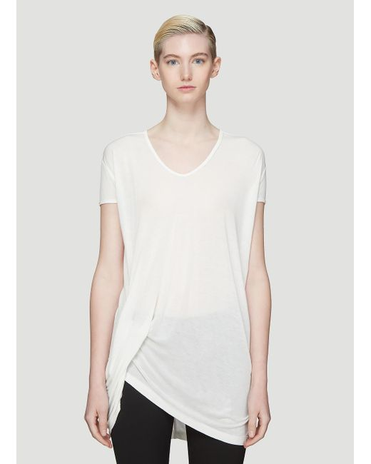 81a7064896260 Lyst - Rick Owens Hiked T-shirt In White in White