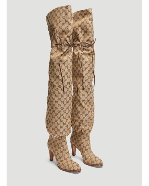 9ce93870c6e Gucci Original GG Canvas Over-the-knee Boot in Natural - Save 52% - Lyst