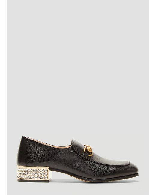 f8a52f735bd Gucci Horsebit Crystal Leather Loafers In Black in Black - Lyst