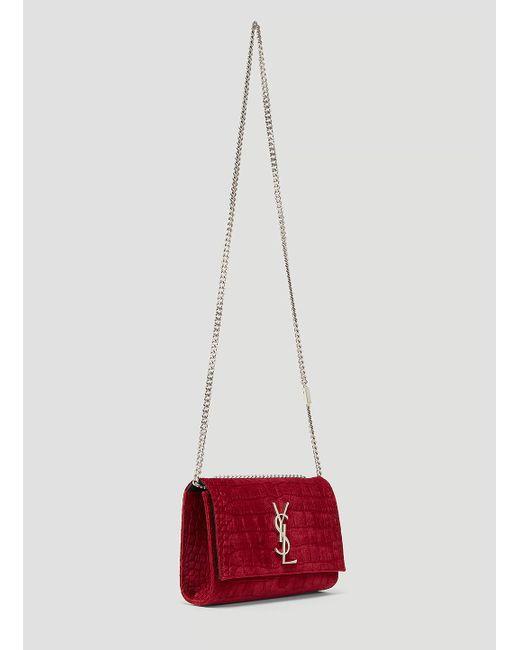 dcd93cbd6b02 ... Saint Laurent - Small Velvet Snakeskin Kate Bag In Red - Lyst ...