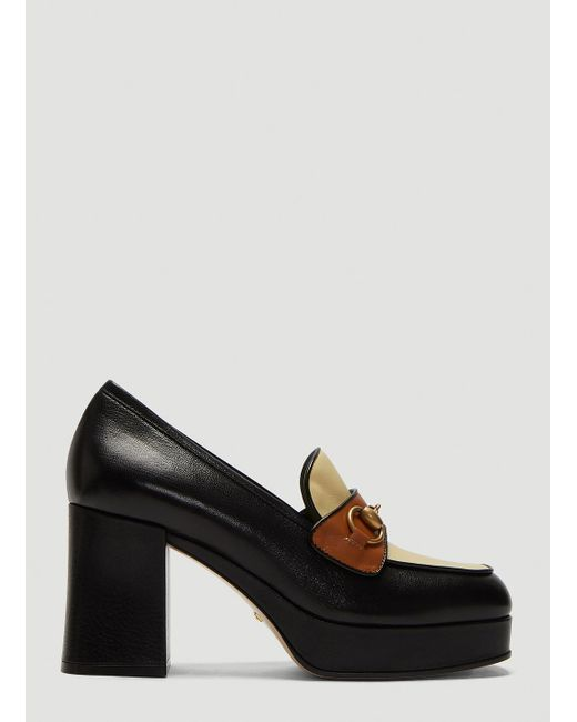 62898a60dd0 Lyst - Gucci Horsebit High-heel Loafers In Black in Black