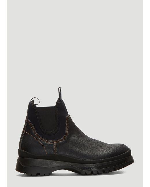 7fe0cb9b88220 Prada - Brixxen Leather And Neoprene Boots In Black for Men - Lyst ...